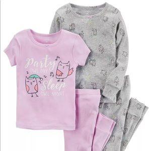 NWT toddler girl 4 piece pajama set Carters 2T